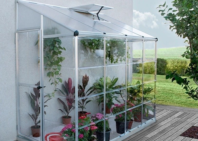 palram hybrid lean-to greenhouse silver