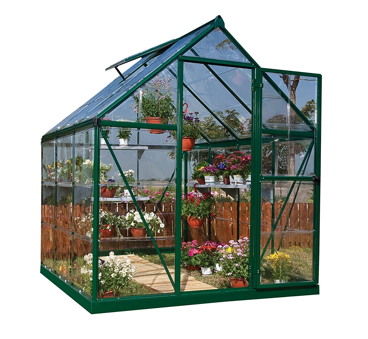 Abba Patio 8x10 Feet Large Walk In Fully Enclosed Garden Greenhouse With  Windows In White