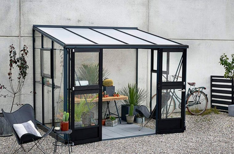 affordable lean-to greenhouse kit against wall
