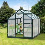 outsunny polycarbonate portable walk-in garden greenhouse 6x8x7