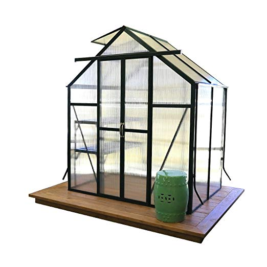 grandio element walk-in greenhouse kit 6x4 flat mount concrete anchors
