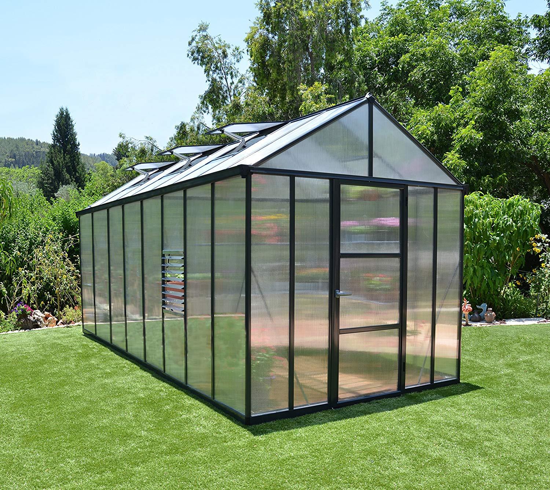 palram hg5616 glory greenhouse 8 x 16 gray