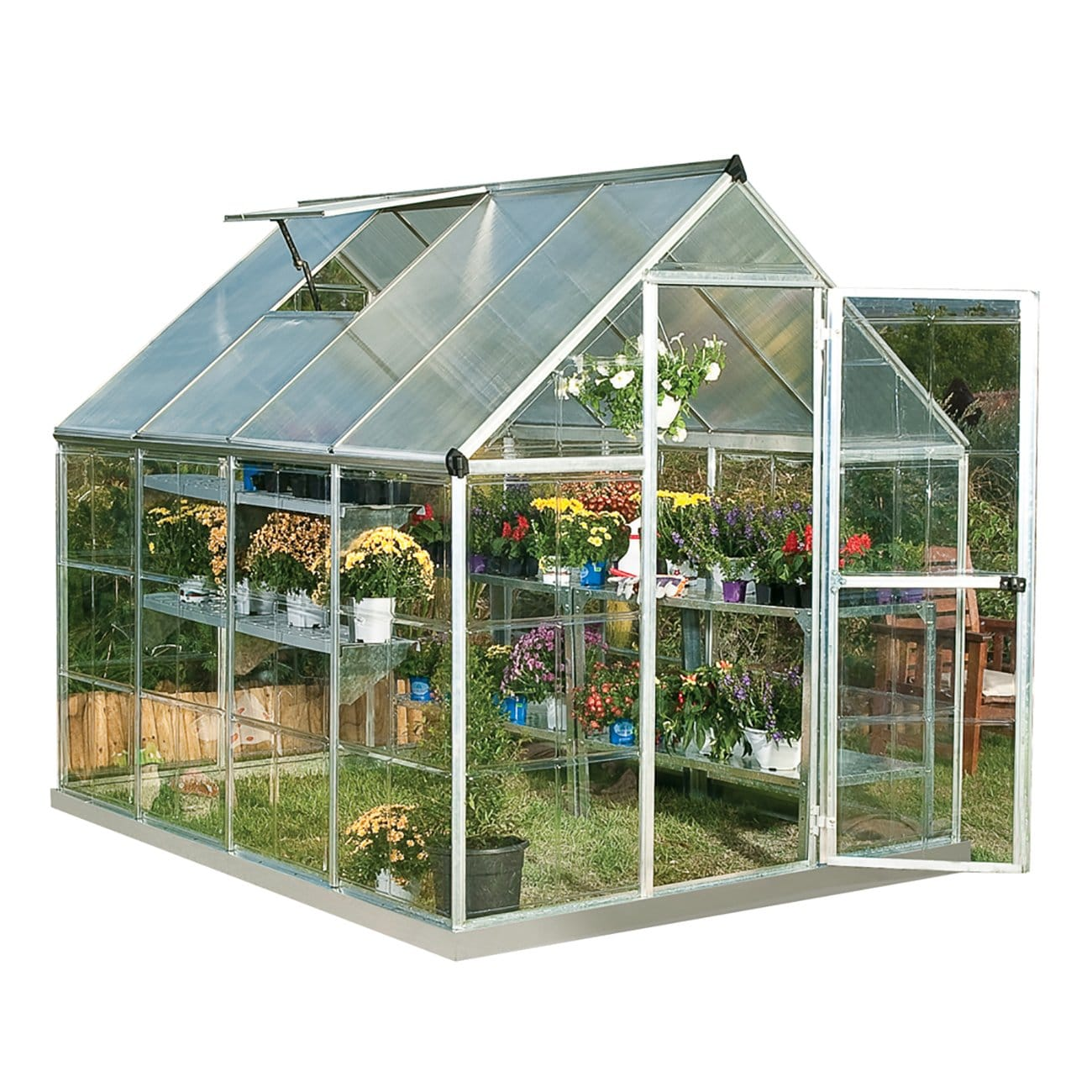 palram hg5508 hybrid greenhouse 6 x 8 x 7 silver