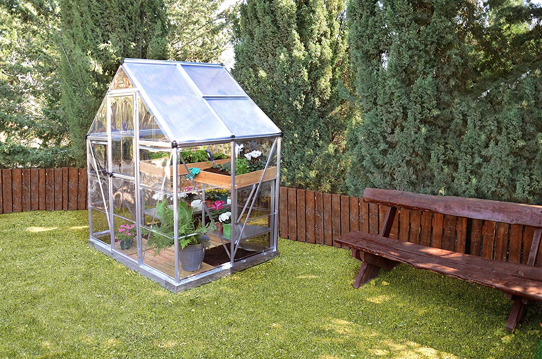 palram nature series hybrid hobby greenhouse 6 x 4 x 7 silver