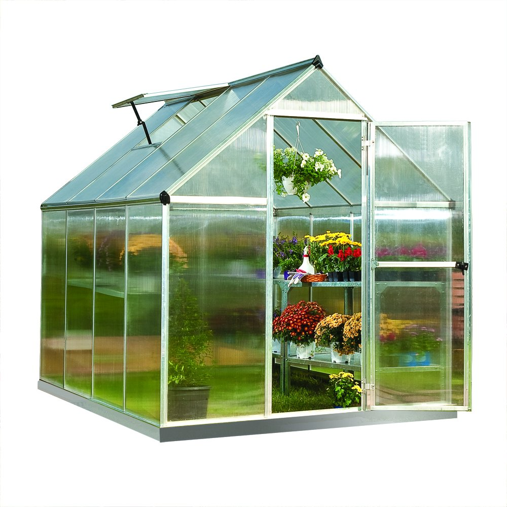 palram nature series mythos hobby greenhouse 6 x 8 x 7 silver