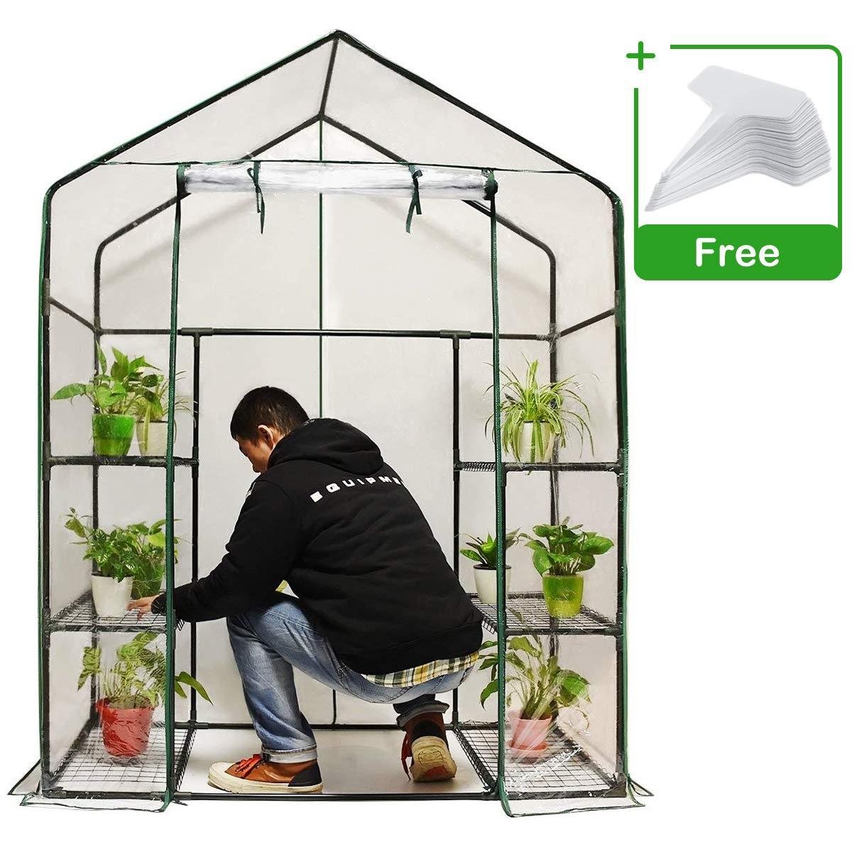 quictent mini walk in greenhouse 3 tiers green house for indoor outdoor 56x29x77