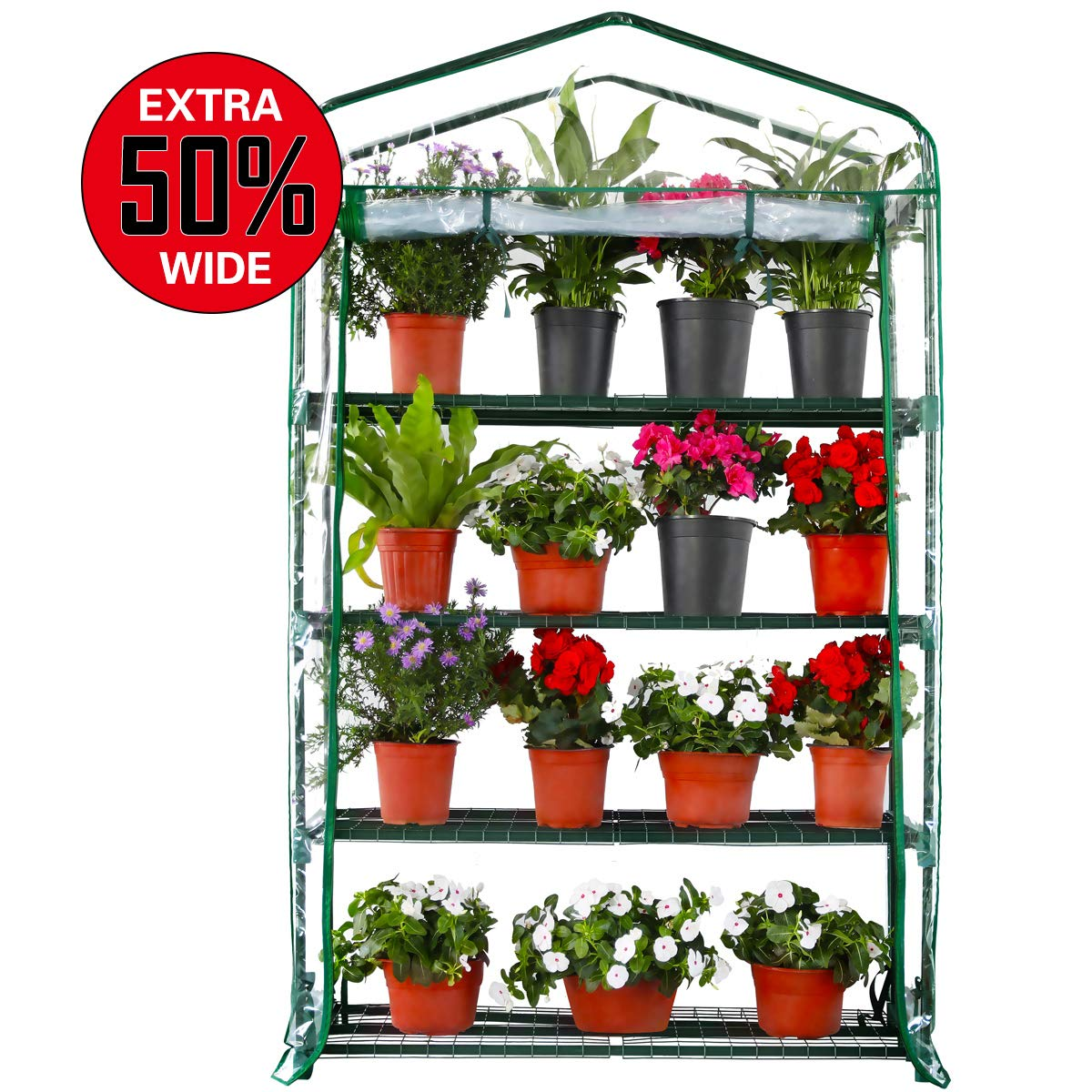 worth 4 tier mini portable greenhouse extra wide for indoor or outdoor use 63 x 40 x 19